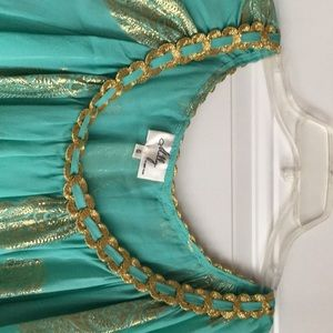 Milly of New York Tops - green silk blouse gold braiding & paisley design